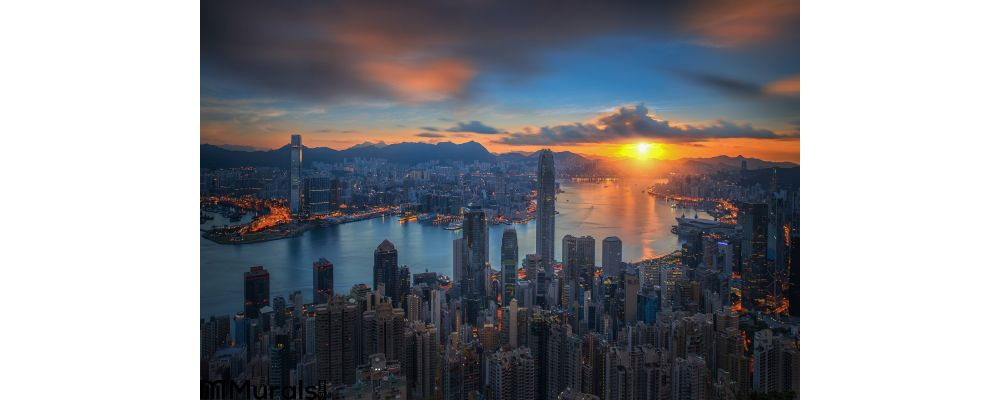 Sunrise Over Victoria Harbor As Viewed Atop Victoria Peak Wall Mural