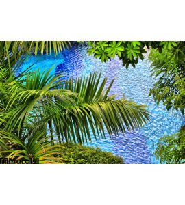 Background Palm Branches Wall Mural Wall art Wall decor
