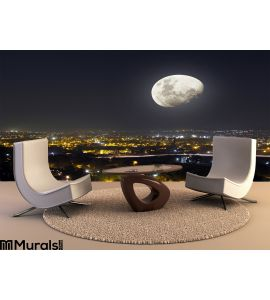 Moon Light Night City View Wall Mural Wall art Wall decor
