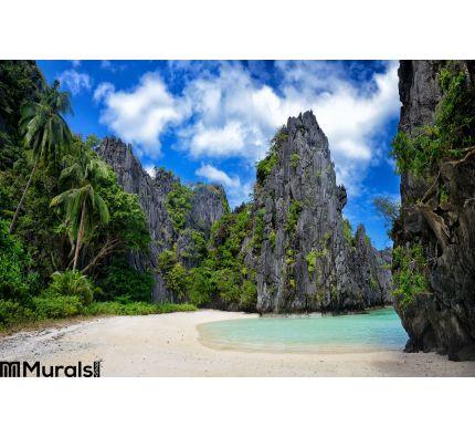 Beautiful wild beach among the rocks of El Nido.Philippines Wall Mural Wall art Wall decor