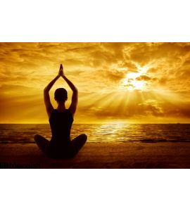 Yoga Meditation Concept Woman Silhouette Healthy Meditating Wall Mural