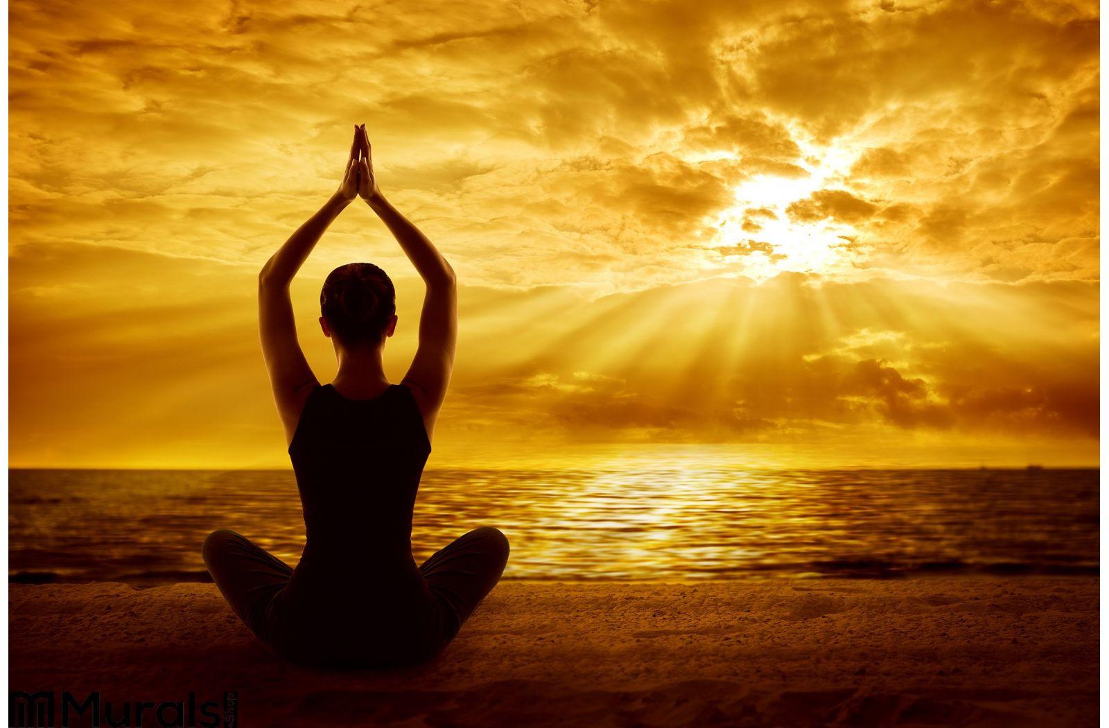 Yoga Meditation Concept Woman Silhouette Healthy ...