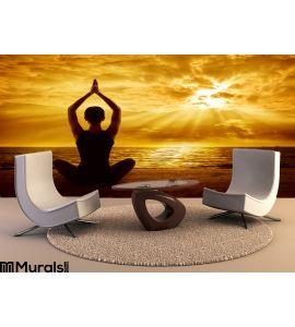 Yoga Meditation Concept Woman Silhouette Healthy Meditating Wall Mural Wall art Wall decor