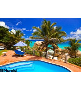 Pool Hotel Tropical Beach Seychelles Wall Mural