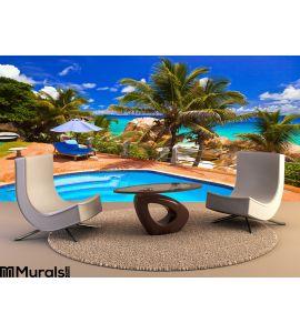 Pool Hotel Tropical Beach Seychelles Wall Mural Wall art Wall decor