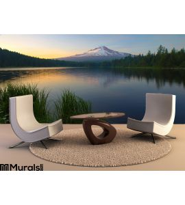 Sunset Trillium Lake Wall Mural Wall art Wall decor