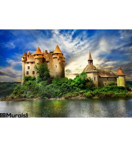 Castle Lake Over Sunset Wall Mural Wall art Wall decor
