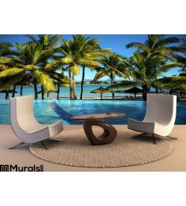 Pool Tropical Beach Wall Mural Wall Tapestry tapestries