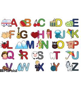 Alphabet letters Wall Mural Wall Tapestry tapestries