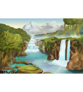 Forest Waterfall Landscape Wall Mural