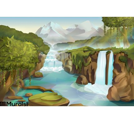 Forest Waterfall Landscape Wall Mural Wall Tapestry tapestries