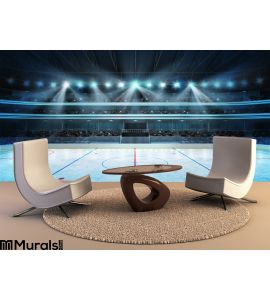 Hockey Stadium Fans Crowd Empty Ice Rink Wall Mural Wall Tapestry tapestries