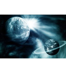 Space View Two Planets Wall Mural