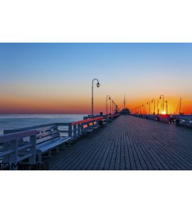 Sopot pier at sunrise Wall Mural