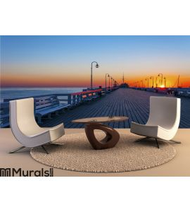 Sopot pier at sunrise Wall Mural Wall art Wall decor
