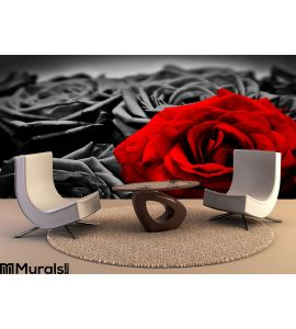 Romantic Greeting Card Red Rose Against Black White Roses Wall Mural Wall art Wall decor
