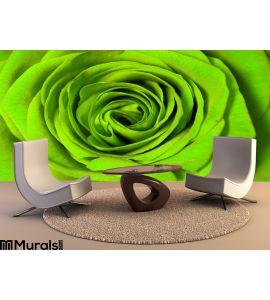 Green rose Wall Mural Wall art Wall decor