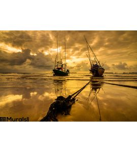 Fishing Sea Boat Sunrise Wall Mural
