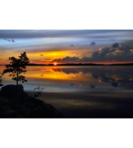Magic Sunset Lake Pongoma Northern Karelia Russia Wall Mural