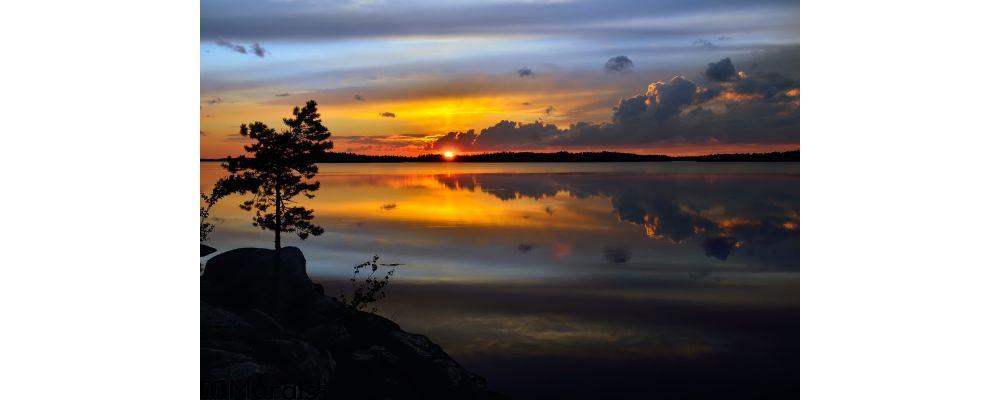Magic Sunset Lake Pongoma Northern Karelia Russia Wall Mural