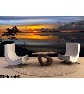 Magic Sunset Lake Pongoma Northern Karelia Russia Wall Mural Wall art Wall decor