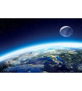 Earth and moon view from space at night Wall Mural