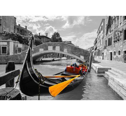 Black White Beautiful Canal Venice Selective Color Gondola Wall Mural Wall art Wall decor