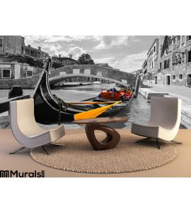 Black White Beautiful Canal Venice Selective Color Gondola Wall Mural Wall art Wall decor