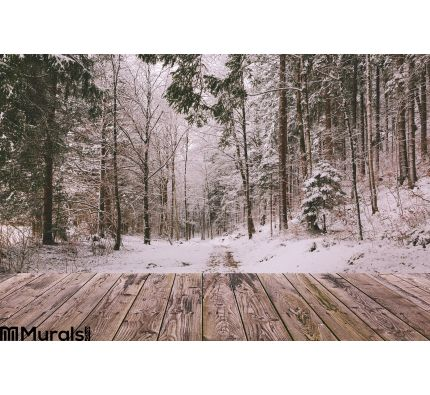 Winter Background Wooden Terrace Nature Forest Landscape Christmas Holiday Concept Wall Mural Wall art Wall decor