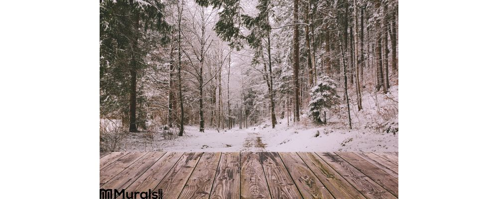 Winter Background Wooden Terrace Nature Forest Landscape Christmas Holiday Concept Wall Mural