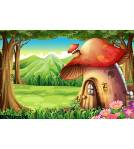 Forest Mushroom House Wall Mural Wall art Wall decor