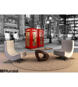 Red Telephone Booth City London Wall Mural Wall art Wall decor