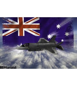 F 35 Modern Stealth Flighter Flag Australia Wall Mural Wall art Wall decor