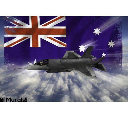 F 35 Modern Stealth Flighter Flag Australia Wall Mural Wall art Wall decor
