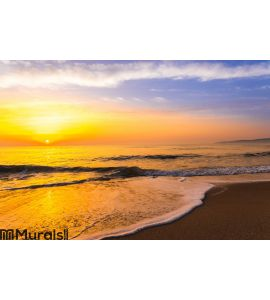 Golden sunrise sunset over the sea ocean waves Wall Mural