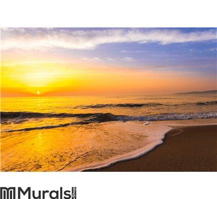 Golden sunrise sunset over the sea ocean waves Wall Mural Wall art Wall decor