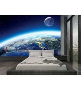 Earth and moon view from space at night Wall Mural Wall art Wall decor
