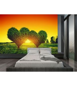 Heart Shape Trees Couple Grass Sunset Love Wall Mural Wall Tapestry tapestries