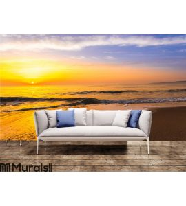 Golden sunrise sunset over the sea ocean waves Wall Mural Wall art Wall decor