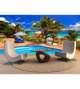Pool Hotel Tropical Beach Seychelles Wall Mural