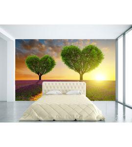 Lavender Fields Trees Shape Heart Sunset Wall Mural Wall art Wall decor