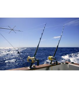 Angler boat big game fishing in saltwater Wall Mural