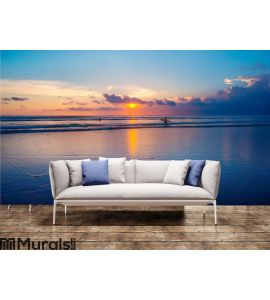 Ocean sunset and surfers Wall Mural