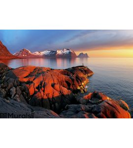 Ocean mountain panorama sunset - Norway Wall Mural