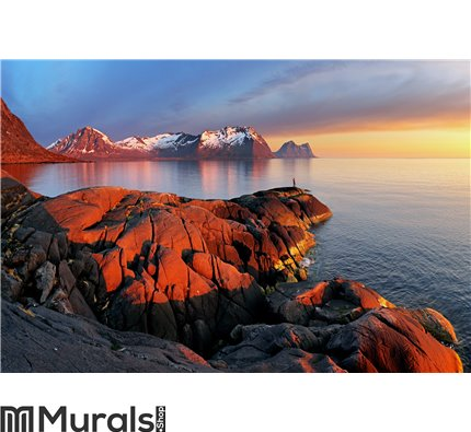 Ocean mountain panorama sunset - Norway Wall Mural Wall art Wall decor