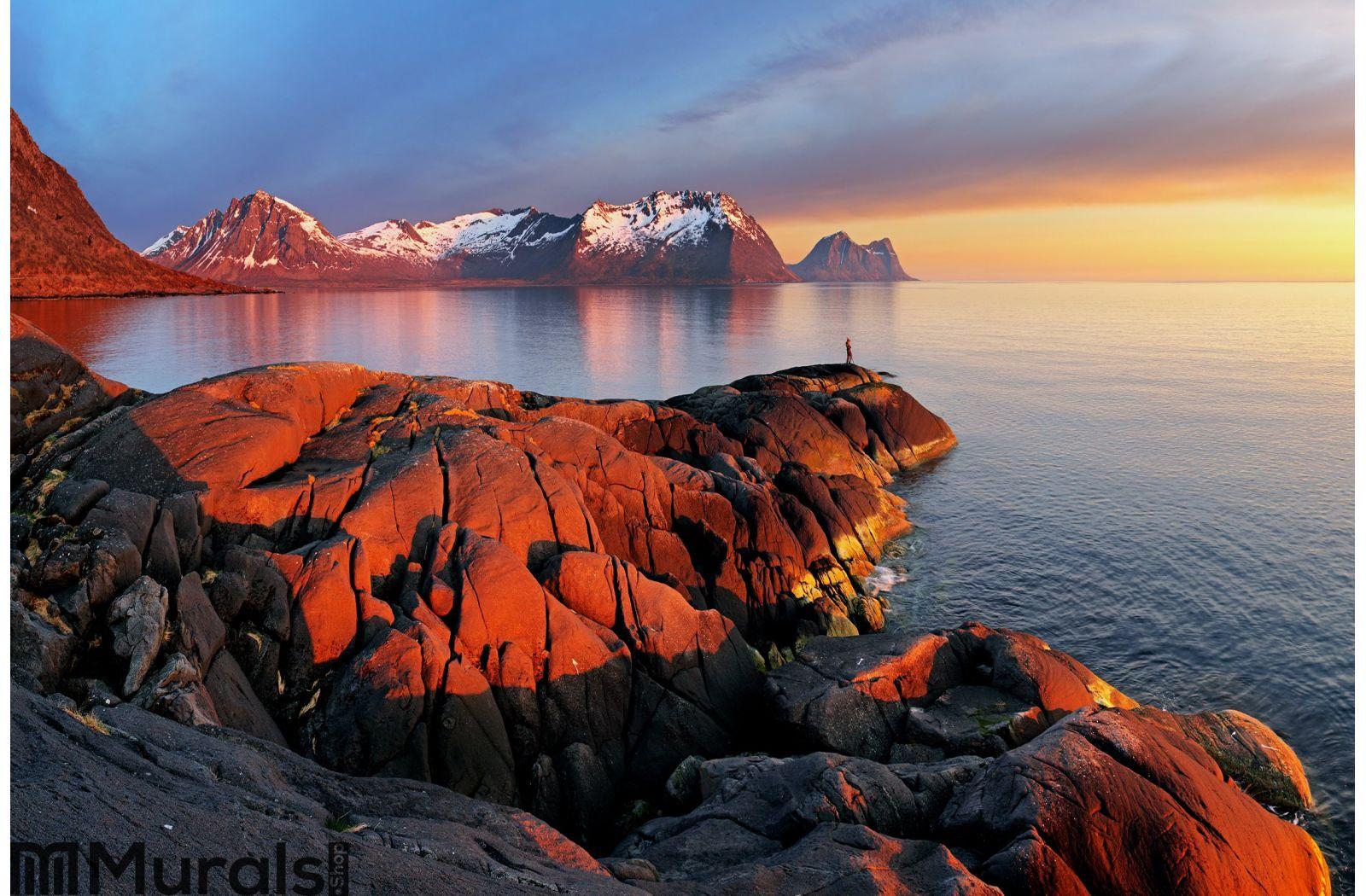Ocean mountain panorama sunset - Norway Wall Mural