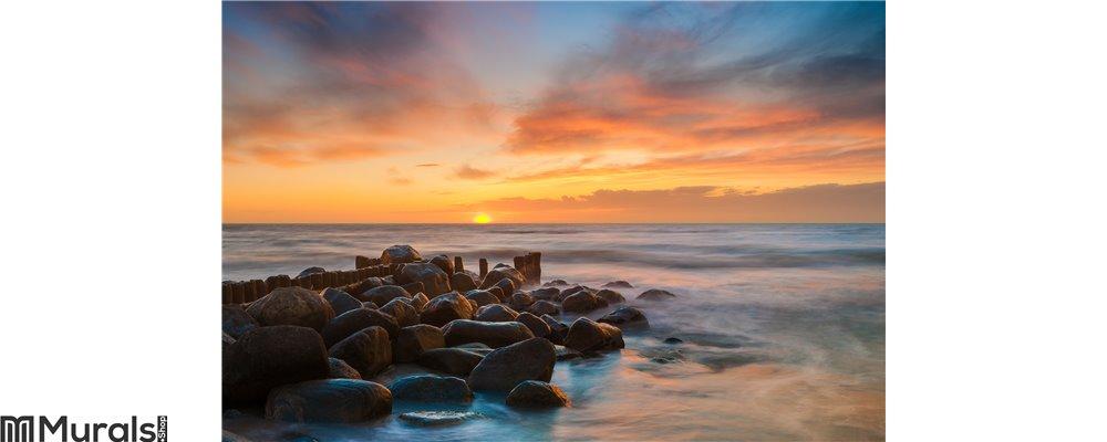 Ocean beach sunset Wall Mural