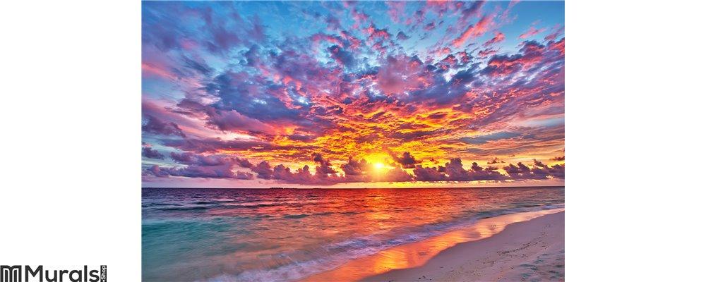Sunset over ocean Wall Mural