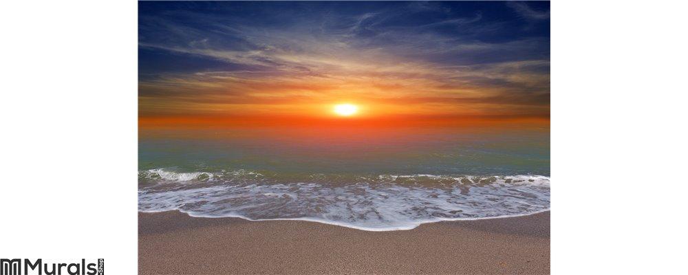Write A Review. Sunset Over Ocean Beach Wall Mural