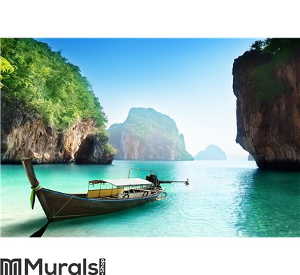 Boat on small island in Thailand Wall Mural Wall art Wall decor
